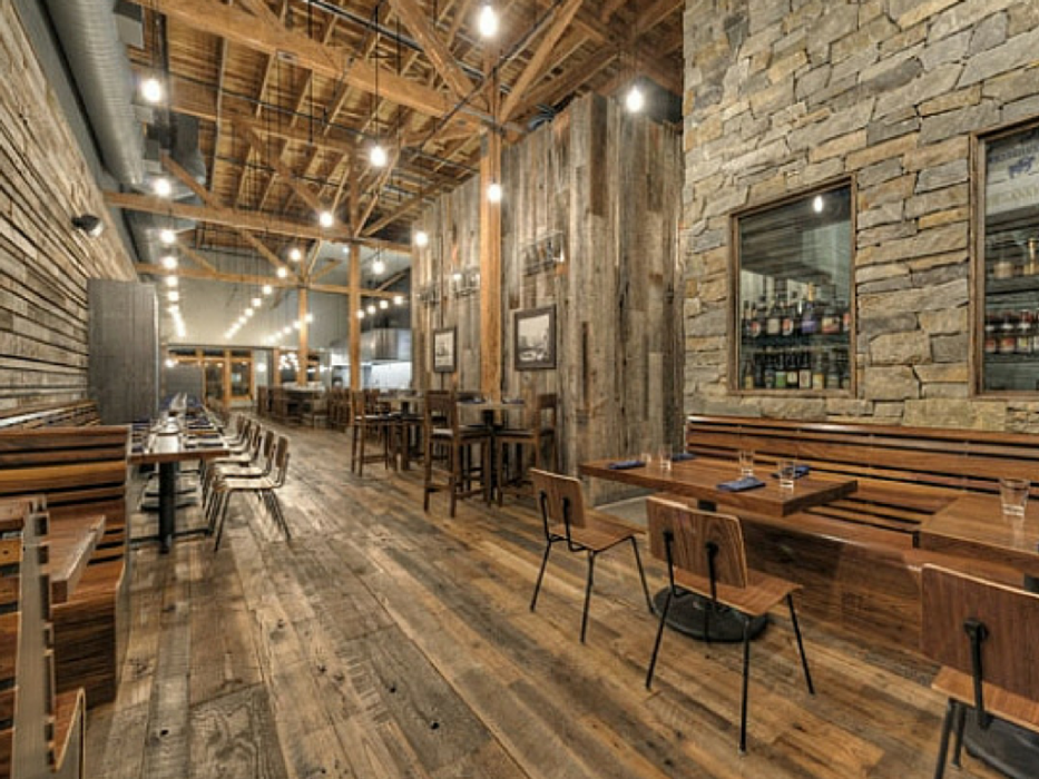 Reclaimed wood in restaurants j hoffman lumber company for Reclaimed wood sources